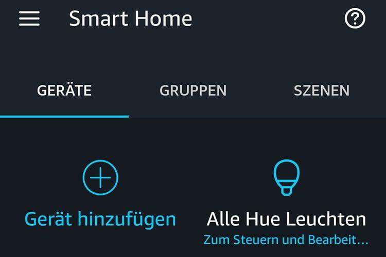In der Smart Home-Geräteübersicht erscheinen die erkannten Leuchtmittel