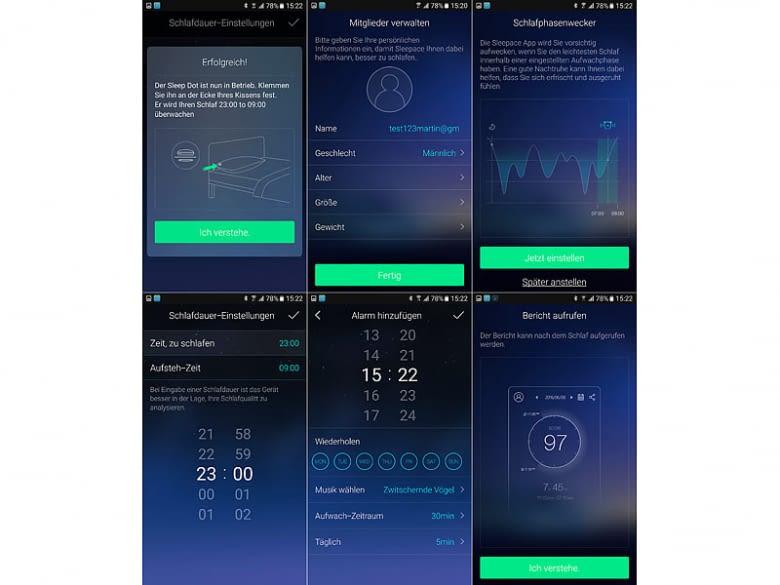 Die Auswertung der Schlafdaten erfolgt in der Sleepace-App - übertragen werden sie mit Bluetooth 4.0
