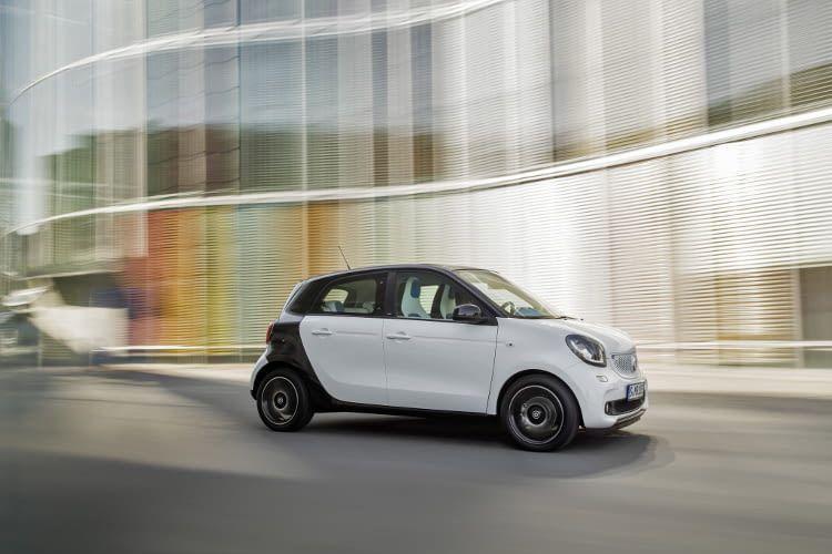 Der smart forfour EQ ist ein viertüriges Stadtauto mit dreineinhalb Meter Länge.
