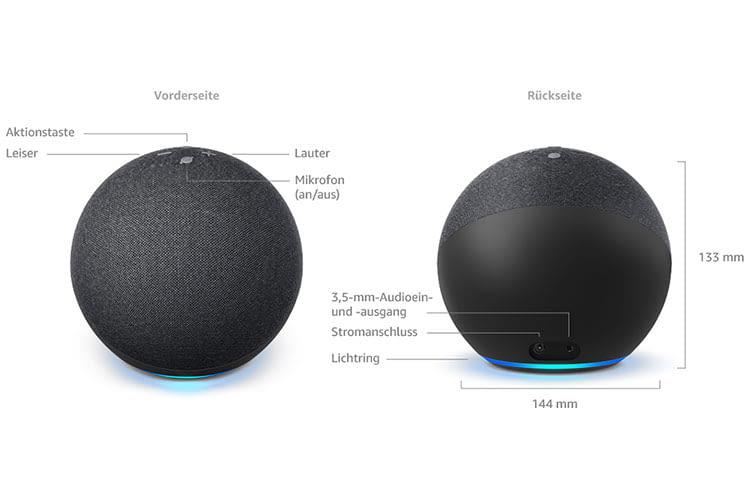 Der Anschluss für den 3,5 mm Audioeingang befindet sich beim Amazon Echo 4 auf der Rückseite neben dem Stromanschluss