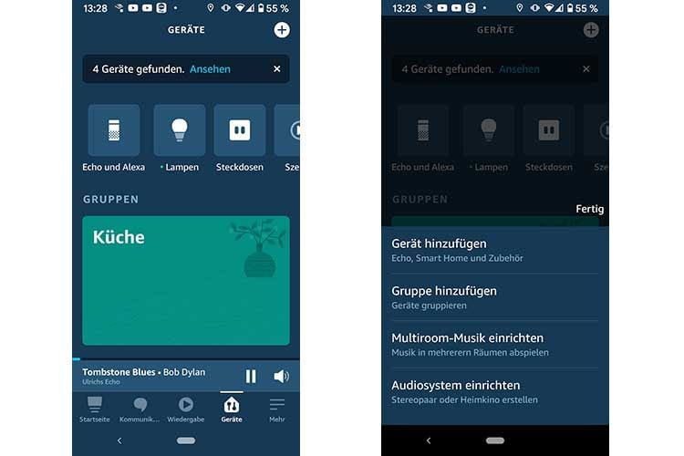 Im Geräte-Menü der Alexa App oben rechts auf das runde Plus-Zeichen drücken, um ein Audiosystem einzurichten