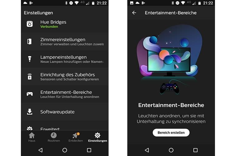 In der Philips Hue App 3.0 können Entertainmentbereiche eingerichtet werden