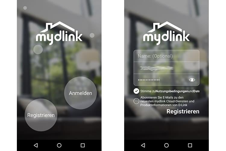 Ist die richtige mydlink App installiert, muss ein Nutzerkonto angelegt werden