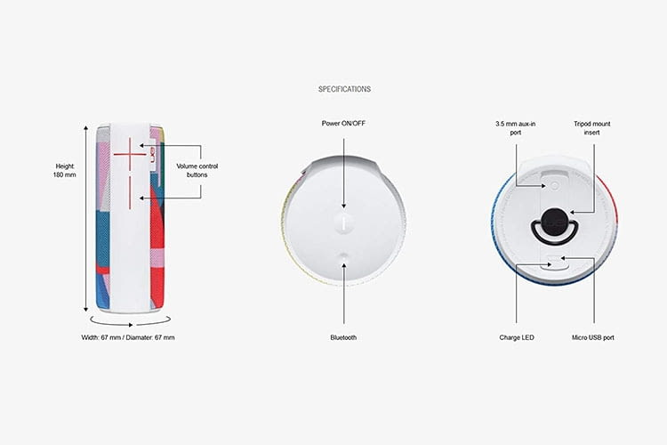 Die Ultimate Ears Bluetooth-Box BOOST 2 hat auf der Unterseite ein Stativgewinde