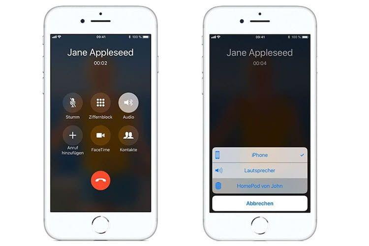 In der Telefon-App des iPhones unter Lautsprecher den HomePod auswählen