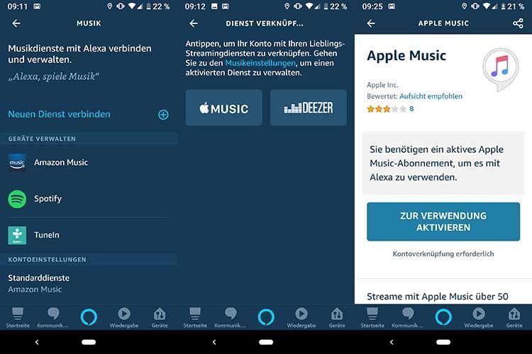 Apple Music kann direkt in der Alexa App aktiviert werden und dann via Amazon Echo gestreamt