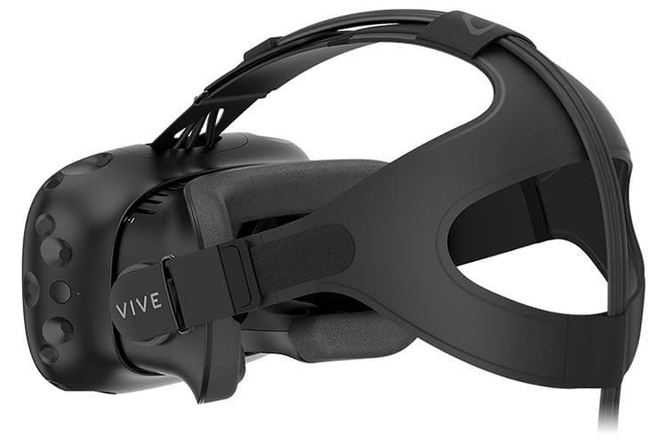 Im Zubehör der HTC VIVE VR-Brille befindet sich ein Gesichtspolster, Riemen verteilen das Gewicht auf den Kopf