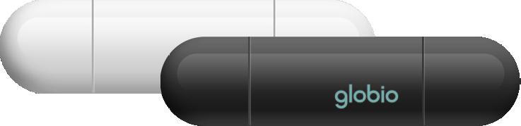 Abbildung von 2 globio in schwarz und weiß - Smart Home Alarmanlage
