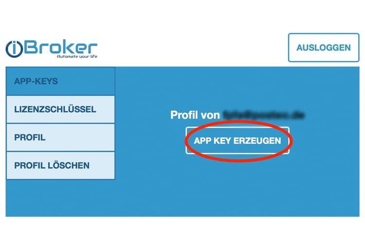 Der App Key des Cloud-Accounts stellt die Kommunikation zwischen Alexa und ioBroker sicher