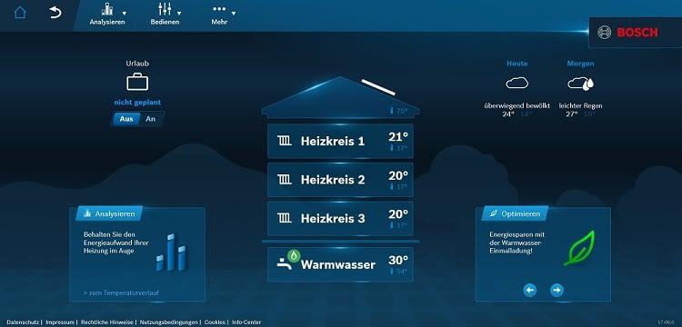 Mit Bosch HomeCom kann der Energieverbrauch optimiert werden