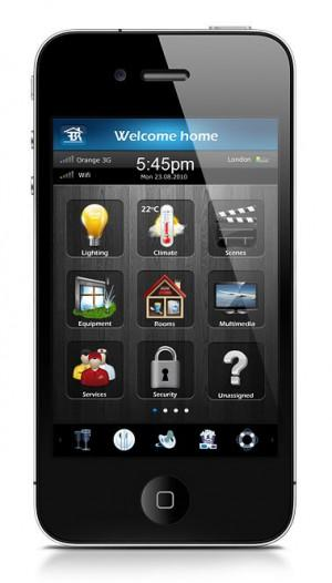 Abbildung des Smartphone Interfaces vom Fibaro Smart Home Systems