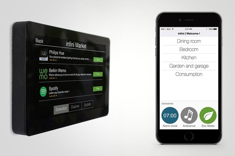 Der Infini Hub hat selbst ein Touchscreen. Praktisch!