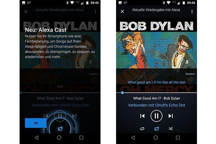 Einmal eingerichtet wird das Streaming durch das blau eingefärbte Alexa Cast-Symbol angezeigt