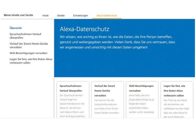 Die neue Website ist deutlich übersichtlicher strukturiert als die bisherigen Datenschutzinformationen zu Alexa
