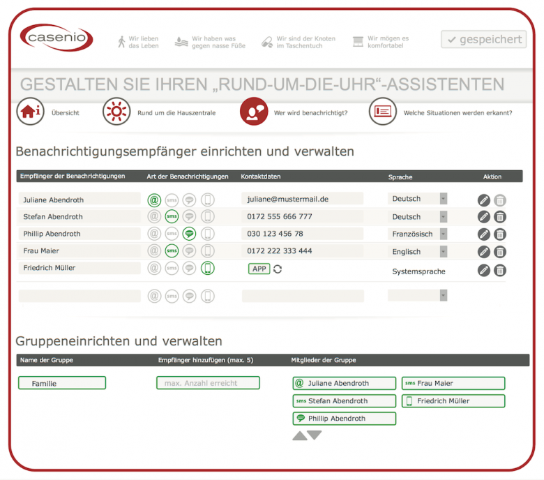 casenio Assistenzsystem - Abbildung Online Service Portal