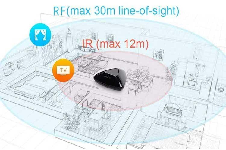 Die Broadlink RM Pro+ Smart Home Universalfernbedienung unterstützt RF und IR Fernbedienungen und bietet eine hohe Reicheite