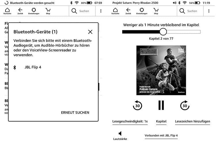 Die Amazon Kindle eReader sind mit einer Bluetooth-Schnittstelle zum Hörbuchanhören ausgestattet