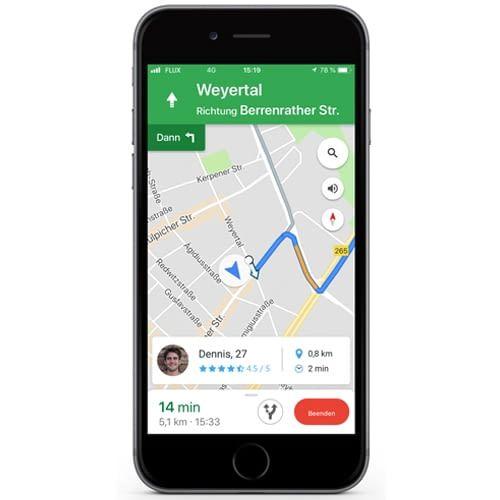 Integrierte Navigation zum Treffpunkt: Mitfahrgelegenheit leicht gemacht