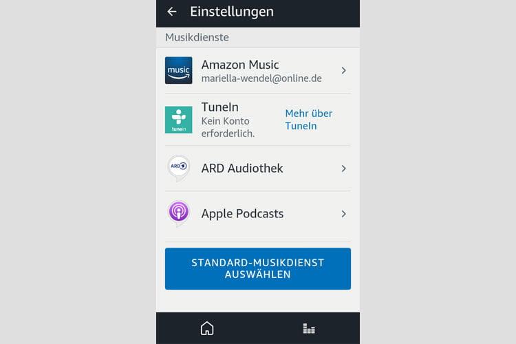 Per Alexa App lassen sich alle bereits vorgenommenen Musikeinstellungen einsehen