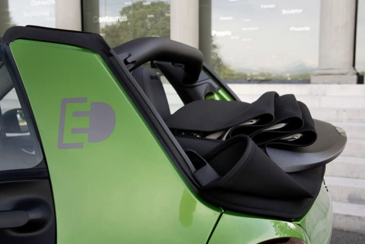 Den smart fortwo electric drive gibt es auch als Cabrio