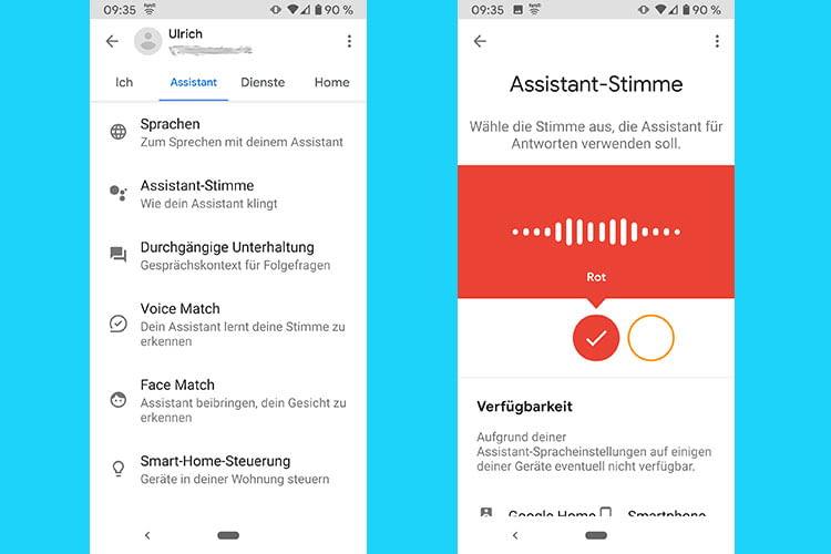 """Die Stimme von Google Assistant lässt einfach ändern: Im Reiter Assistant """"Assistant Stimme"""" wählen und dann auswählen"""