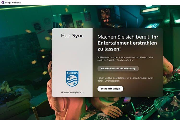 Philips Hue Sync App sucht nach definierten Entertainmentbereichen