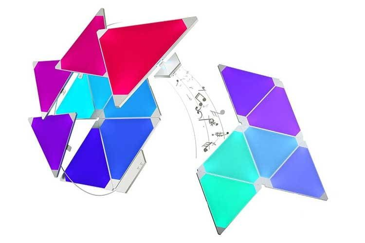 Das Nanoleaf Aurora Erweiterungsset bietet zusätzliche Licht-Panels für noch größere geometrische Lichtfiguren