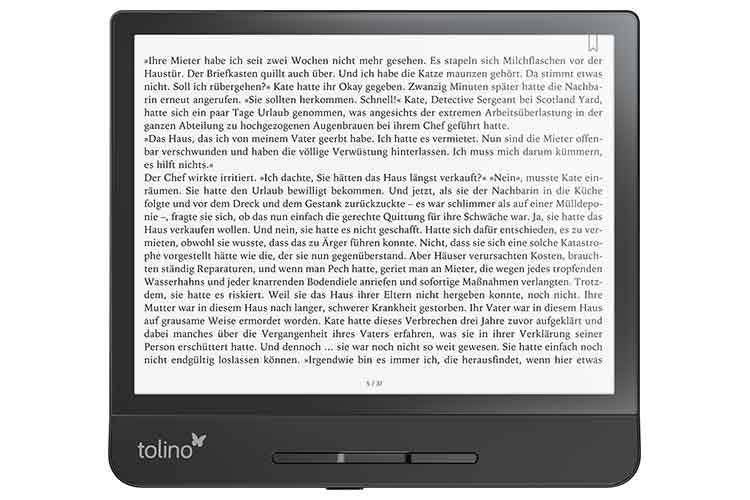 tolino epos 2 verfügt über ein großes 8 Zoll Display und ist das Premium Modell unter den tolino eBook-Readern