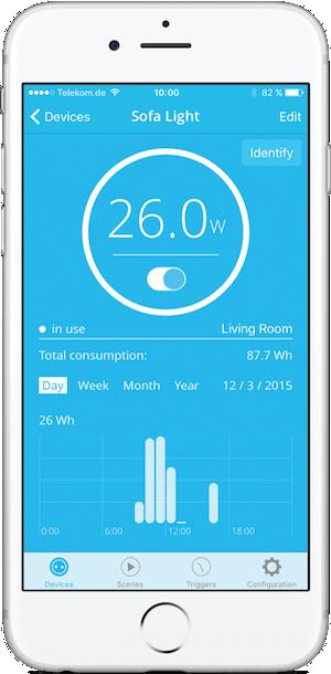 Abbildung der Parce One App auf einem Smartphone - Smart Plug mit HomeKit Support