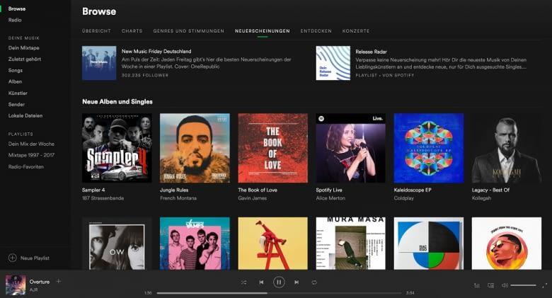 Spotify gibt es auch gratis, die Premium-Version bietet aber Offline-Musikgenuss