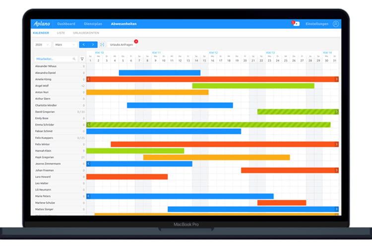 Abwesenheiten von Mitarbeitern lassen sich übersichtlich in der Aplano App koordinieren