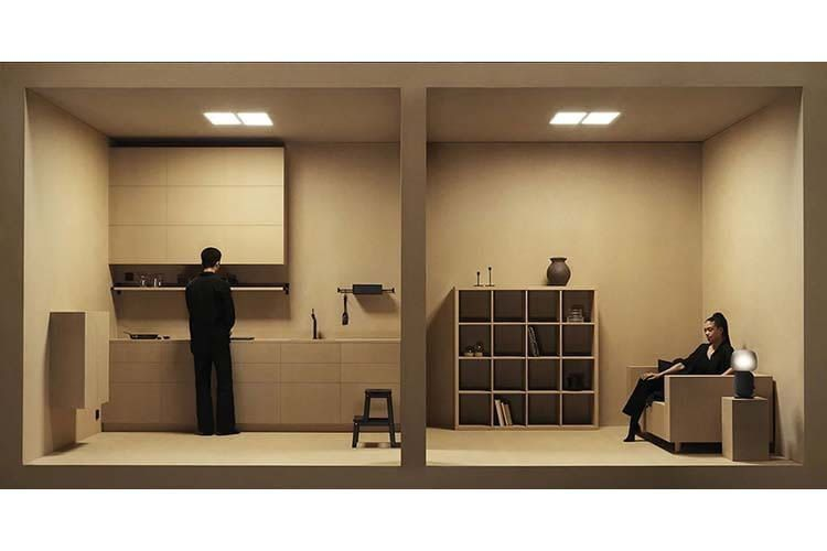 Das IKEA Design zeichnet sich durch elegante Schlichtheit aus. Rechts im Bild: SYMFONISK Tischleuchte mit WiFi-Speaker