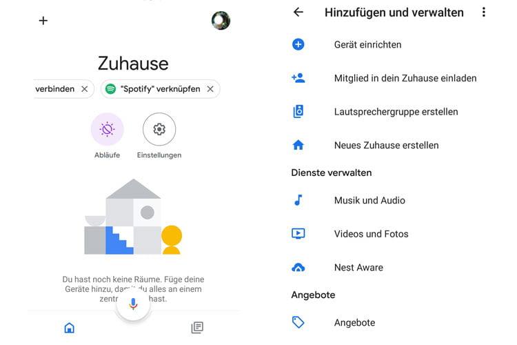 Über die Google Home App können Nutzer ihren Google Lautsprecher mit einem Streaming Dienst verknüpfen