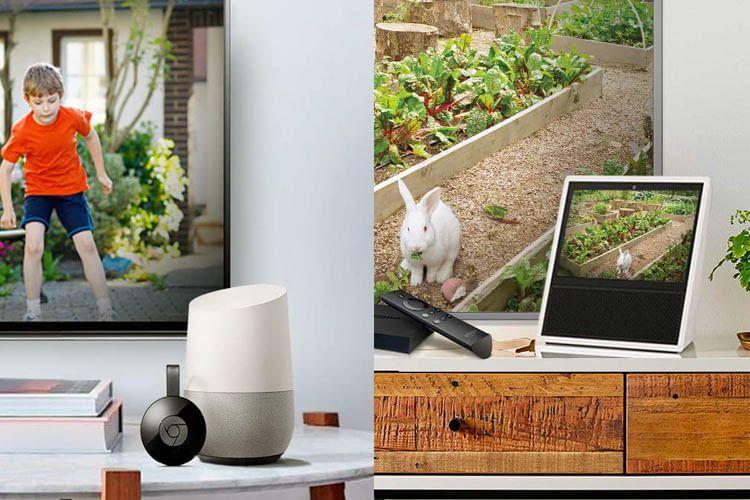 In Kombination mit einem Smart Speaker wird das Bild live auf den TV oder ein Echo Display übertragen