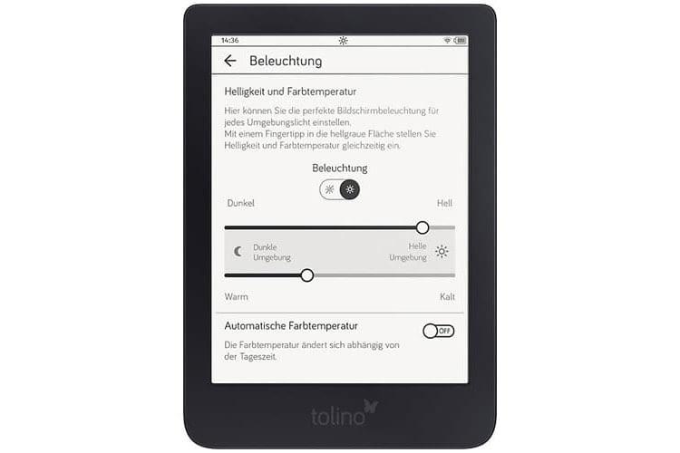 Beim tolino Shine 3 können Nutzer die Farbtemperatur einstellen