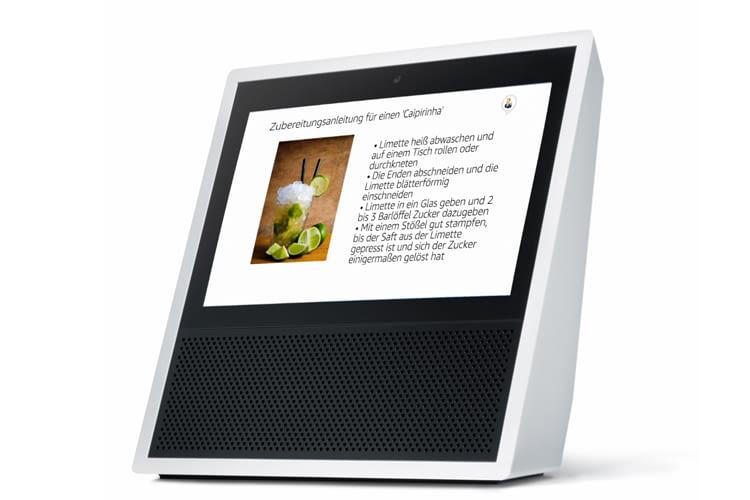 Auf Amazon Echo Show sieht man das Rezept übersichtlich angezeigt