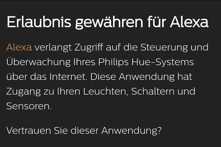 Philips Hue fragt nach, ob Alexa Zugriff gewährt werden soll
