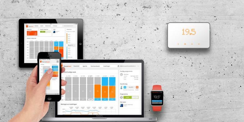 Der smarte Thermostat ThermoSmart kann per Panel oder mittels smarter Devices verwaltet werden