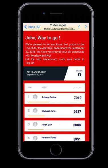 Vergleich mit anderen Skifahrern - über das Leaderboard der PIQ-App