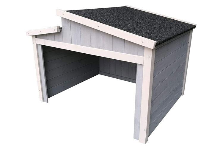 Schick und aus Holz - die Mähroboter Universal Garage von Wiltec