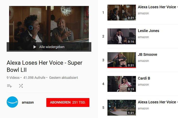 Alexas Super Bowl Werbevideos sind für deutsche Nutzer leider nicht mehr auf YouTube abrufbar