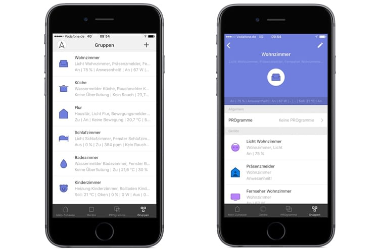Die AFRISOhome-App ermöglicht das Zusammenfassen smarter Komponenten zu Gruppen