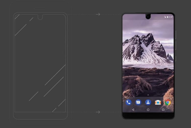 Essential Phone: Edge-to-Edge-Bildschirm für maximale Ausnutzung der Frontfläche