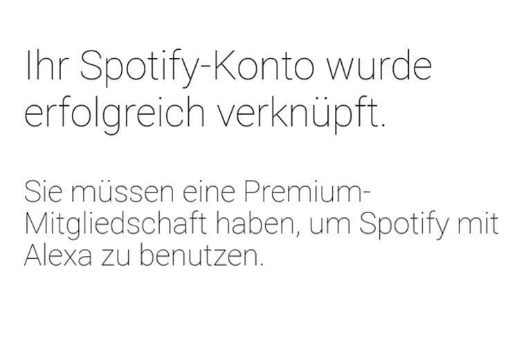 Alexa lässt sich nur mit Spotify Premium-Accounts verbinden
