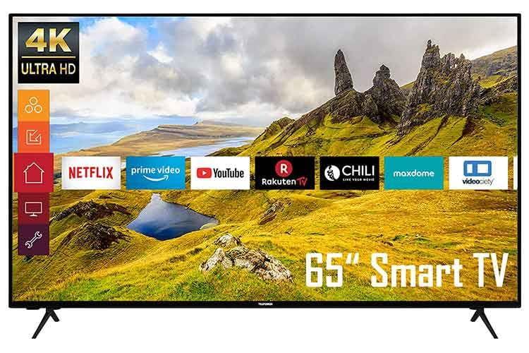 Der 65 Zoll TV Telefunken XU65K529 lässt die Herzen von Film- und Serienliebhaberinnen höher schlagen