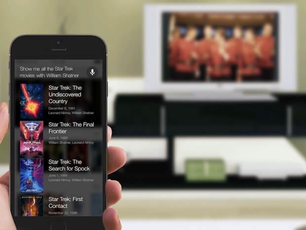 Abbildung der MindMeld for TV Sprachsteuerung auf einem Smartphone