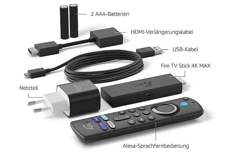 Im Lieferumfang von Amazon Fire TV Stick Max ist alles enthalten, was man zum sofortigen Loslegen benötigt