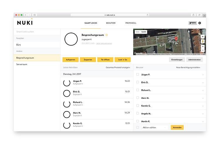 Nuki Web führt ein exaktes Nutzungsprotokoll der Smart Locks