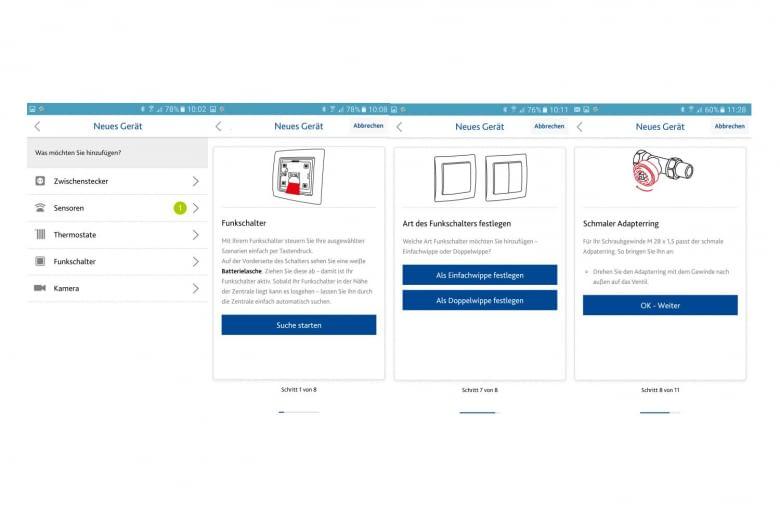 Hilfe und Anleitung zur Installation der Geräte gibt es auch auf der App