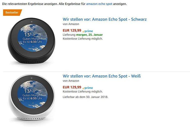 Der weiße Amazon Echo Spot ist ab dem 30. Januar lieferbar (Stand: 24.01.2018)